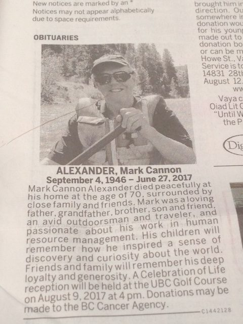 Mark Alexander will be missed.